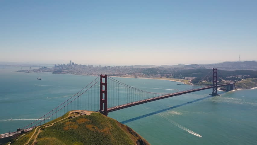 Golden Gate Bridge Aerial, San Fransisco, California State