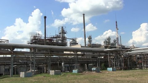 Industrial Plant Produces Methane, Methanol. Underground Storage of Natural Gas. Factory Distribution and Industrial Processing of Natural gas. Many Pipelines And Construction