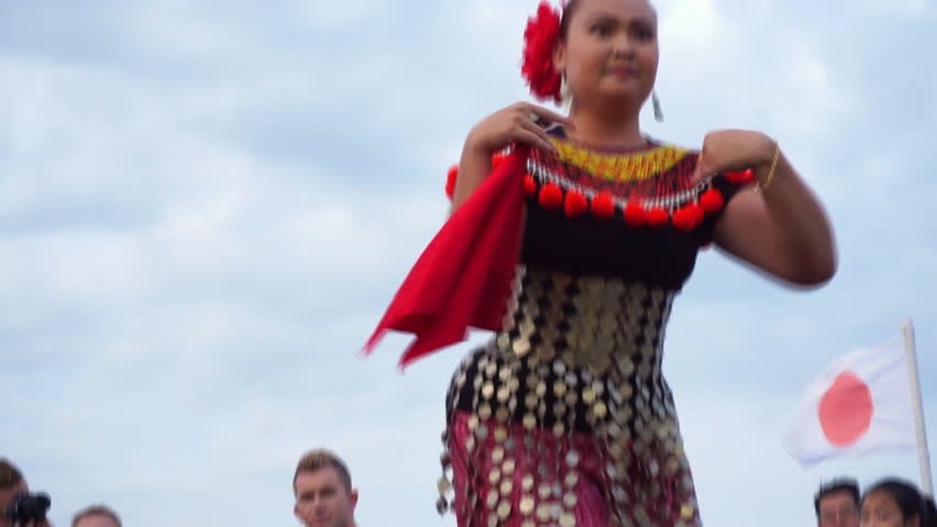 Kuching, Malaysia - 2nd Sept,2017: live performer of traditional dance on Sarawak River Cruise boat. popular tourism destination in Sarawak