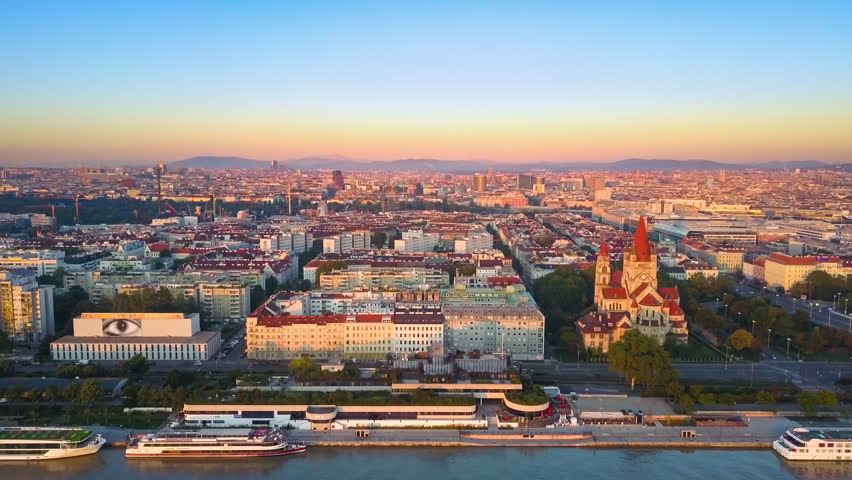 Vienna aerial view at sunrise | Shutterstock HD Video #30425533