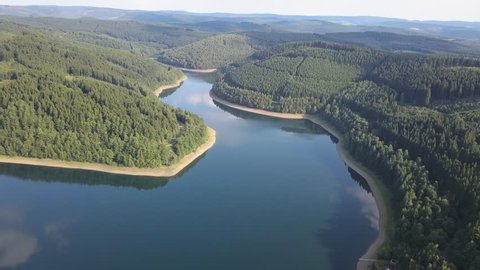 The Obernau lake - a large drinking water reservoir for the Siegerland region. Netphen, North Rhine-Westphalia, Germany