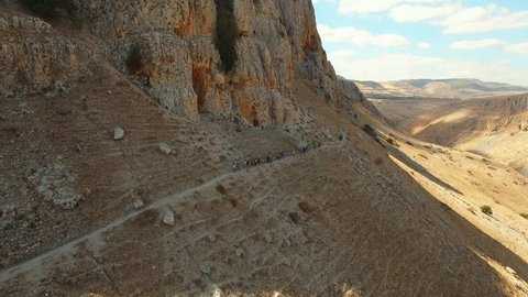Israel Aerial drone of Mount Arbel in The Lower Galilee near Tiberias Golan hiking mountains