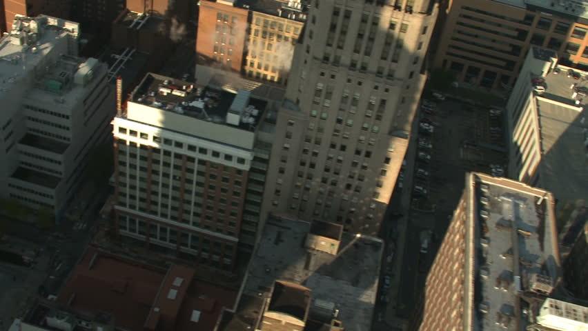 Aerial shot of rooftops in Philadelphia