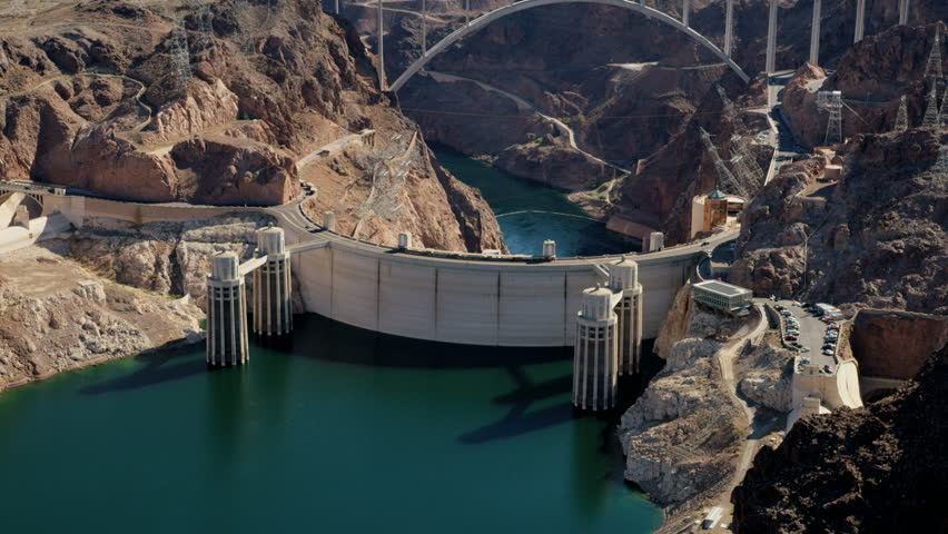 Aerial view Hoover Dam Lake Mead producing hydroelectricity above Colorado River Bridge on US 93 Las Vegas Nevada Arizona USA RED WEAPON