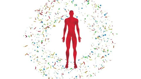 Microbiome bacteria, viruses, microbes surrounding  man, male body. 3d animation. White background, circular expanding bacterial  cloud