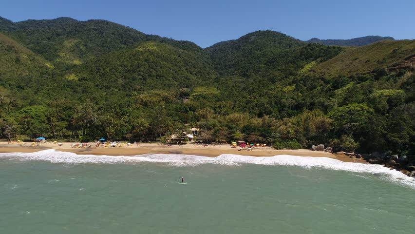 Flying over Jabaquara Beach in Ilhabela, Brazil