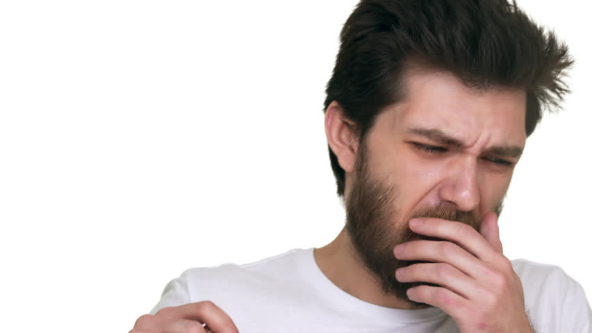 Caucasian man smelling stinky crinkle face on white background
