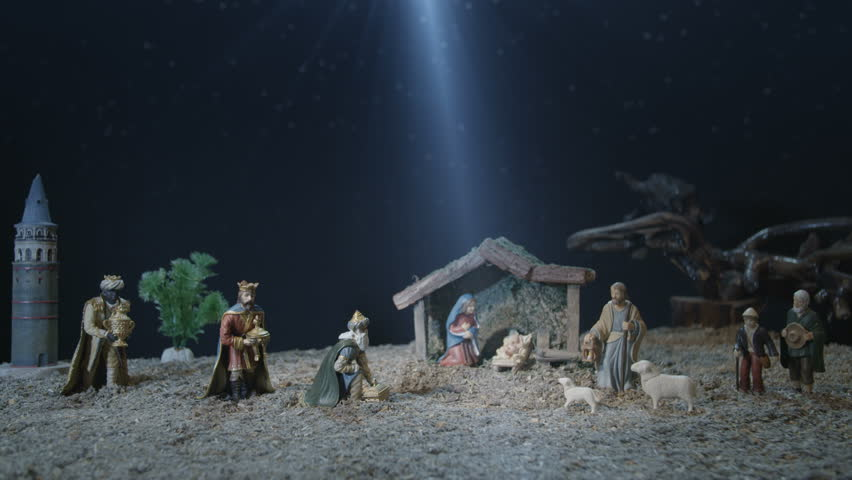Christmas Decorations With Jesus In Manger Image Free