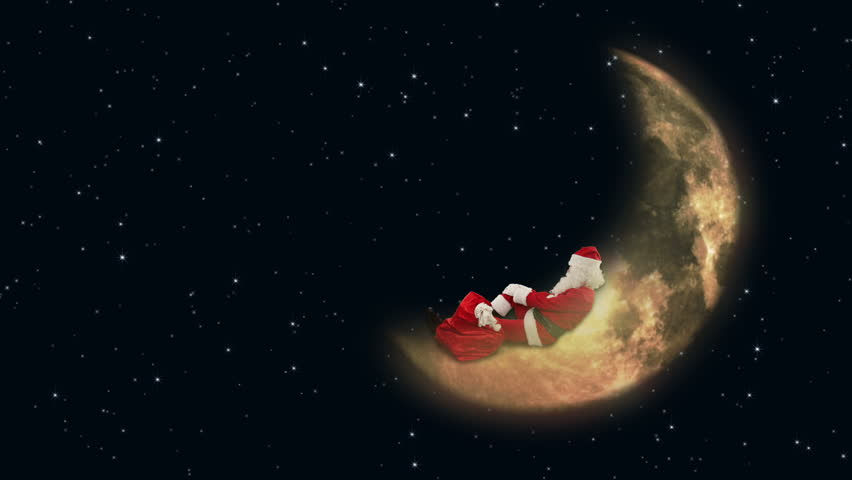 Santa Claus resting on Moon and waiting for Reindeer