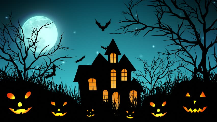 Halloween background animation with the concept of Spooky Pumpkins, Moon and Bats and Haunted Castle. | Shutterstock HD Video #30577771