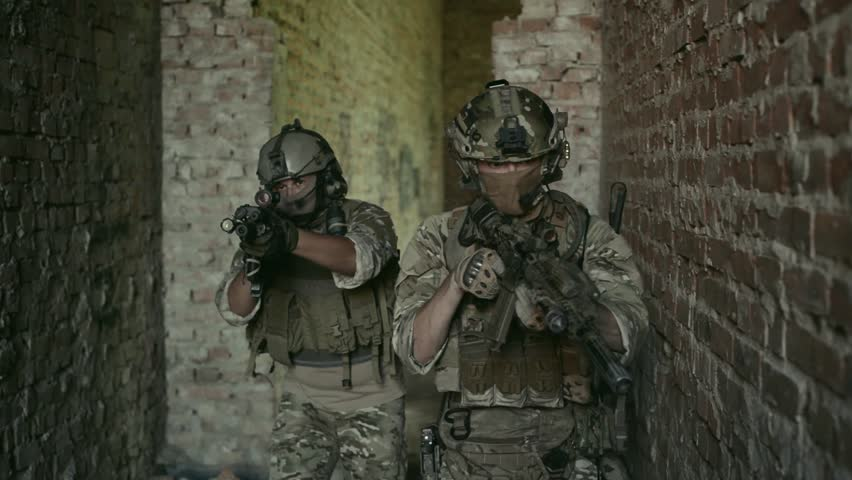 Two air soft man to clean up urban territory. Tactics rules