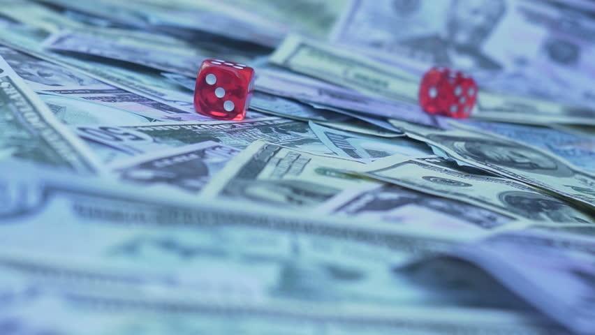 Red dice falling on money slow motion   Shutterstock HD Video #30613114