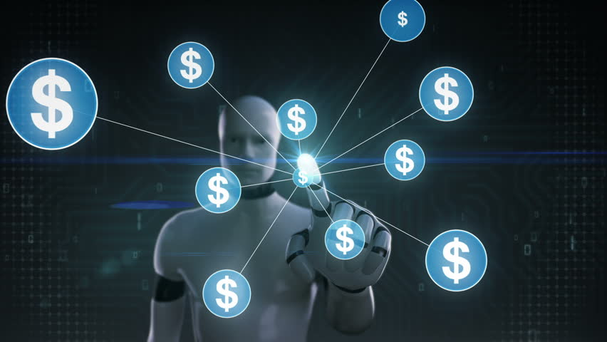 Robot, cyborg touching Dollar symbol, Numerous dots gather to create a dollar currency sign, dots makes global world map, internet of things. financial technology 1. | Shutterstock HD Video #30618313