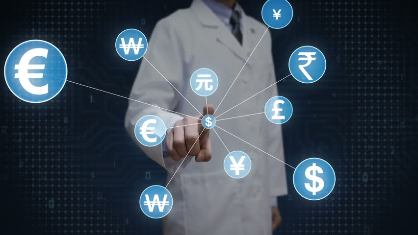 Scientist, engineer touching World currency symbol, Numerous dots gather to create a currency sign, dots makes global world map, internet of things. financial technology 1. | Shutterstock HD Video #30618343