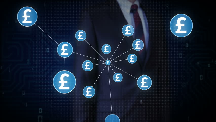 Businessman touching Pound currency symbol, Numerous dots gather to create a Pound currency sign, dots makes global world map, internet of things. financial technology 1. | Shutterstock HD Video #30618373