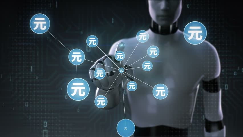 Robot, cyborg touching Yuan symbol, Numerous dots gather to create a Yen currency sign, dots makes global world map, internet of things. financial technology 2. | Shutterstock HD Video #30618403