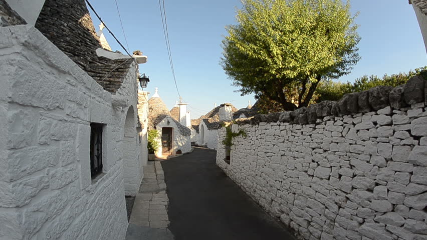 Alberobello - Italy. Typical conical homes called Trulli. POV.