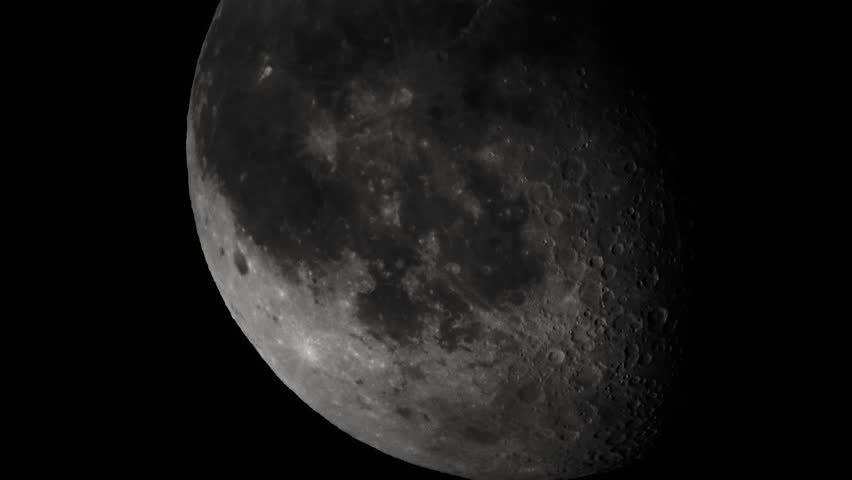 The moon in the dark sky at night. Close-up - HD stock video clip