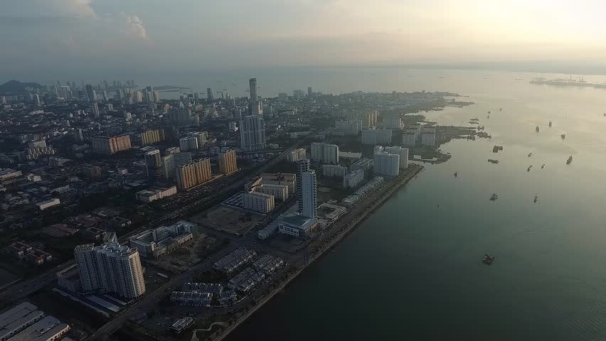 Aerial View of Persiaran Karpal Singh , Penang m Malaysia in the morning