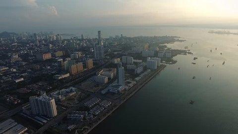 Aerial View of Persiaran Karpal Singh , Penang m Malaysia in the morning