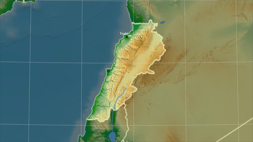 The Lebanon Area Map In The Azimuthal Equidistant Projection Layers