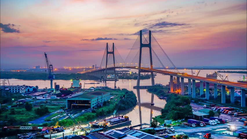 Ho Chi Minh - Vietnam, 3 Sept 2017: Timelapse sunrise moment in Phu My Bridge. A large bridge to connect District 2 and District 7 in Ho Chi Minh City