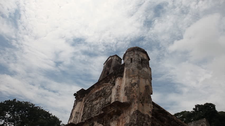 Timelapse of the A famosa gate also called Porta de Santiago  remains of the fortress built by the Portuguese in 1511