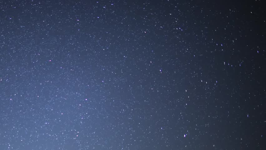 Milky way with dark blue skies, nice, nature starry sky, star lights with dark evening time. Galaxy panoramic view. Astrophotography time lapse footage with zoom out motion of constellation Orion over