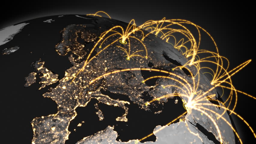 Growing connections over the earth. A worldwide network expanding over the world. Loops seamlessly.