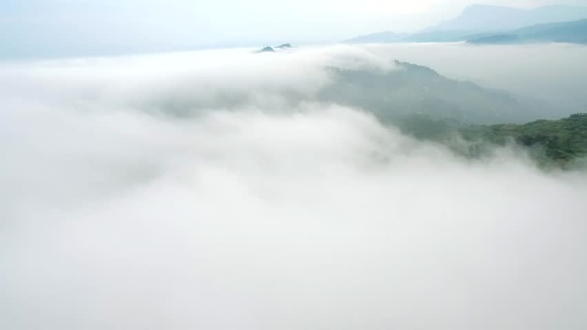 Aerial view of drone flying over  tea farm in the mountain with cloud flowing in Sichuan China | Shutterstock HD Video #30702148