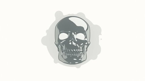 Animation rotation skull in flat icon style on colorful background with circle with flying particles. Line art style. Animation of seamless loop.