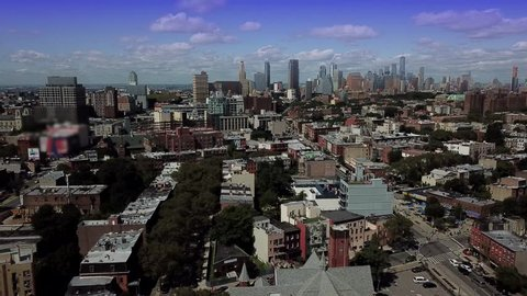 Brooklyn, NYC AERIAL View to Manhattan Skyline, 2017, Bedford-Stuyvesant area.