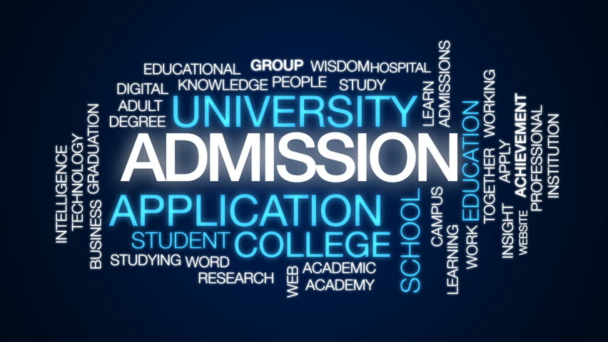 Admission animated word cloud, text design animation.
