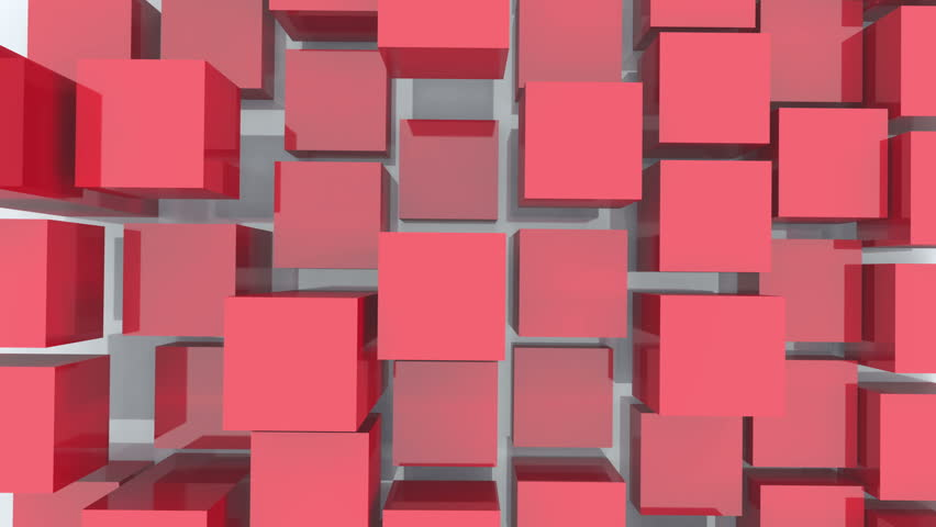 4k tech blockchain data background,abstract 3d red cubes animation.cg_03999_4k