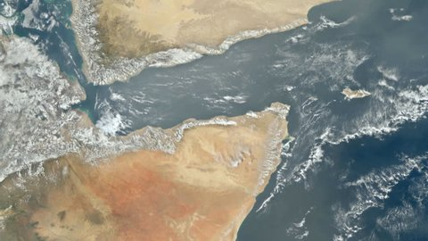View from satellite flying over Red Sea