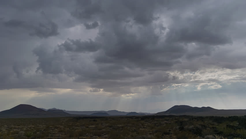 Thunderstorm Mojave Desert with Distant mountains 4K from 6K source | Shutterstock HD Video #30764320