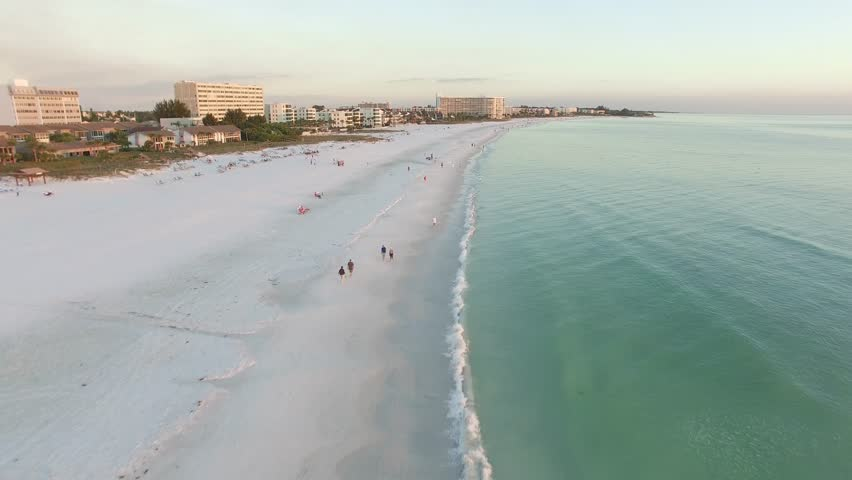Aerial view of the Siesta Key beach with the most white and clean sand, Florida.