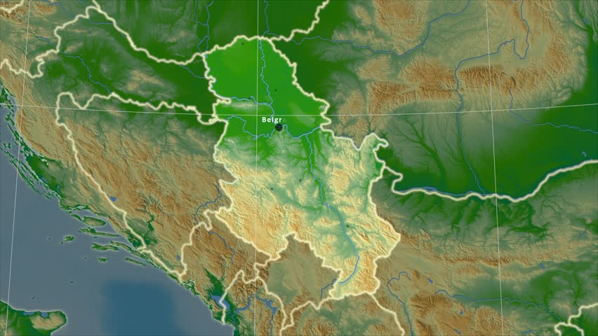 Zoomedin View Of A Serbia Outline With Perspective Lines Against A