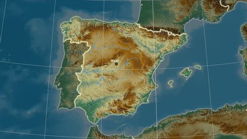 The Spain area map in the Azimuthal Equidistant projection. Layers of main cities, capital, administrative borders and graticule. Relief map
