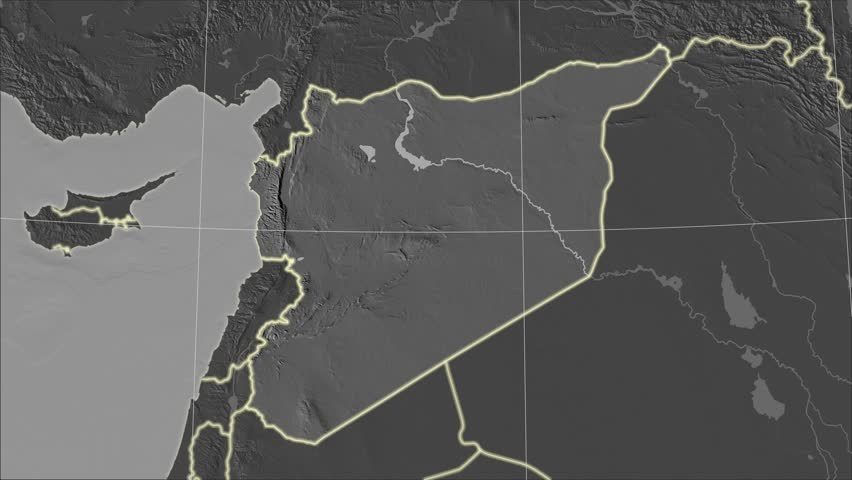 The Syria area map in the Azimuthal Equidistant projection. Layers of main cities, capital, administrative borders and graticule. Elevation & bathymetry - grayscale contrasted