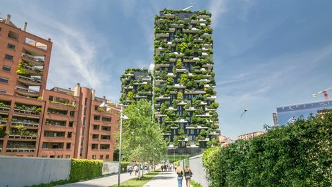 MILAN, ITALY - CIRCA 2017: Bosco Verticale (Vertical Forest), a pair of modern, residential boildings in the Porta Nuova district of Milan.