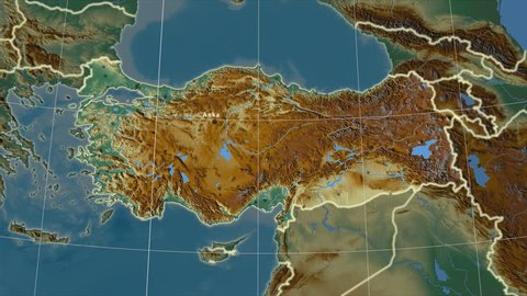 The Turkey area map in the Azimuthal Equidistant projection. Layers of main cities, capital, administrative borders and graticule. Relief map
