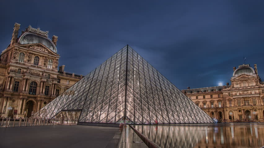 PARIS - CIRCA OCTOBER 2012: Time lapse of The Louvre Museum circa October 2012 in Paris, France