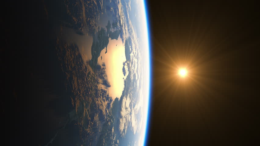 Realistic Sunrise Over The Earth. 4k. 3840x2160. Ultra High Definition. (You Can Speed Up This Animation For Your Project). 3d Animation.