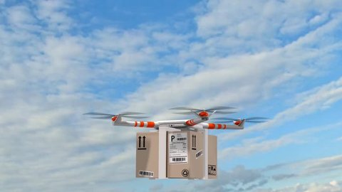 delivery drone - drone Quadrocopter delivers a package - fast autonomous drone delivery
