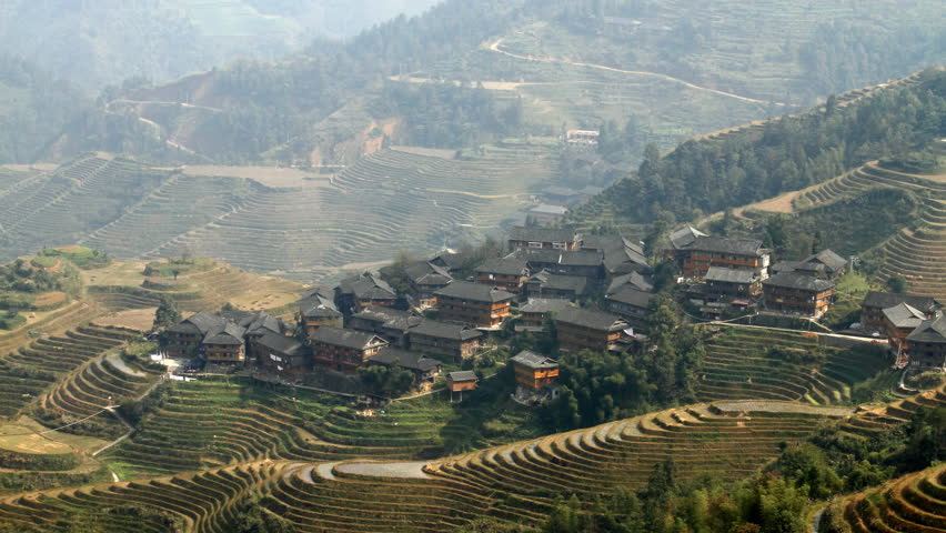 Time lapse of Longsheng Village and Terraced Rice Field at Morning- Longsheng, Guangxi province, China.