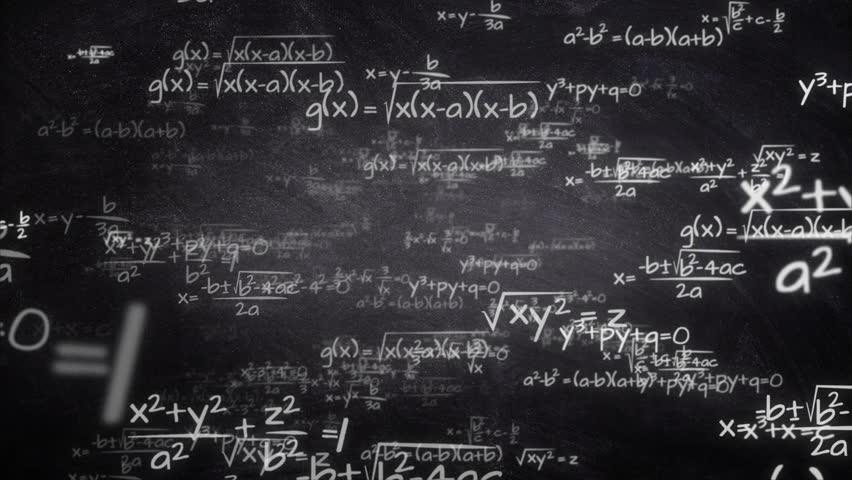 Handwritten mathematics formulas flying from chalkboard towards camera, seamlessly looping