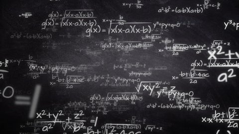 Handwritten mathematics formulas flying from chalkboard towards camera, seamlessly looping