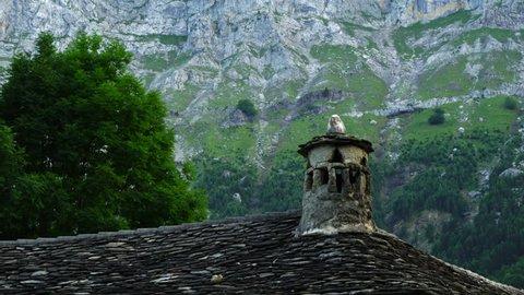 Chymney in a house of Escuain village, Escuain Gorge, Ordesa y Monte Perdido National Park, Sobrarbe,Huesca province, Aragon, Spain, Europe