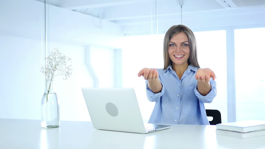 Flying Kiss Gesture By Woman At Work In Office Love Stock Footage